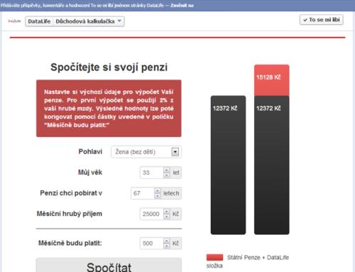 Facebook aplikace Důchodová kalkulačka