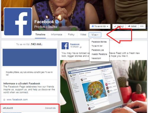 Umístění aplikací v novém vzhledu firemní Facebook stránky