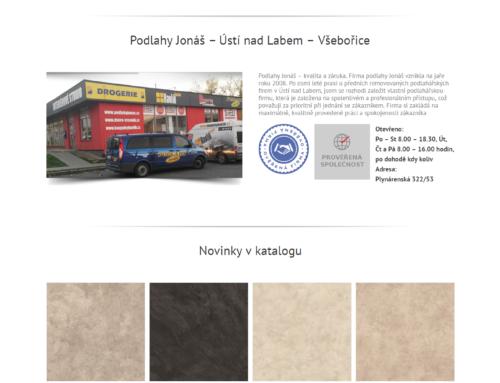Podlahy Jonáš – webová prezentace s katalogem